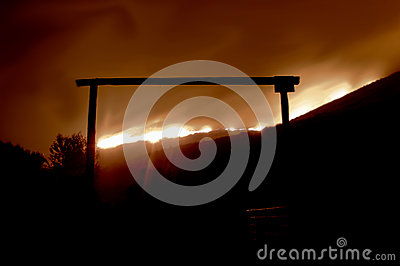 Fire Behind the Gate Editorial Stock Image