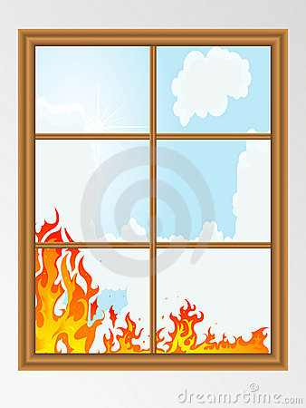 Fire behind the window