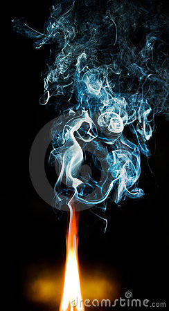 Fire and blue smoke