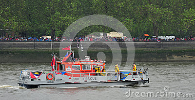Fire boat Diamond Jubilee Pageant Editorial Photography