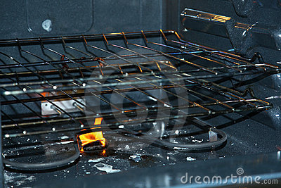 Fire in bottom of oven