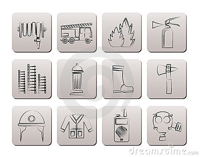 Fire-brigade and fireman equipment icons