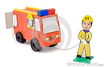 Fire brigade, kid s cardboard handicraft