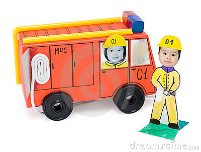 Fire brigade, kid s cardboard handicraft