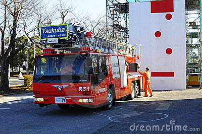 A fire brigade on work during Japan earthquake Editorial Photography