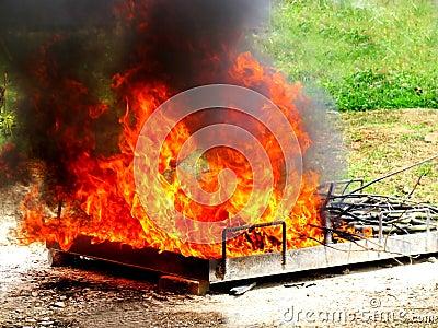 Fire burn rubbish Editorial Stock Photo
