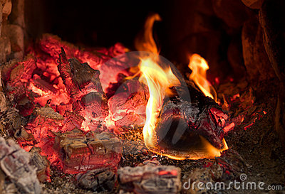 Fire burning in the furnace