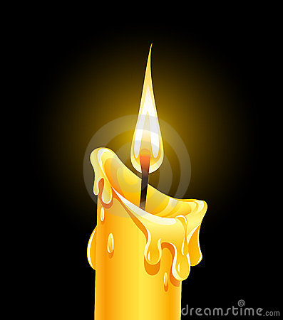 Fire Of Burning Wax Candle Stock Photos - Image: 23497473