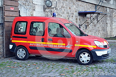 Fire car in Paris Editorial Photo