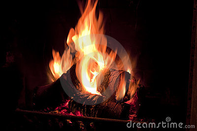 Fire in chimney.