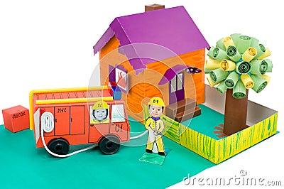 Fire control, kid s cardboard handicraft