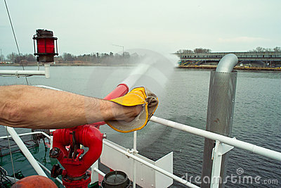 Fire crew on boat