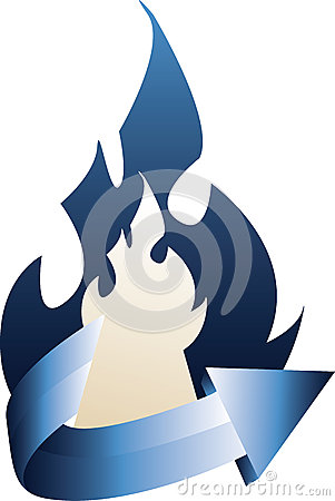 Fire with curved blue arrow