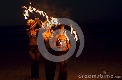 Fire dancers Editorial Stock Photo