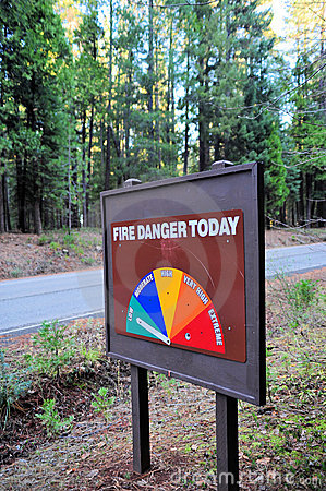 Fire Danger Sign In The Forest