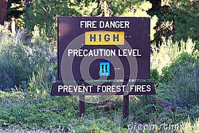 High Fire Danger Sign