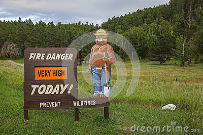 Fire danger sign Editorial Stock Photo