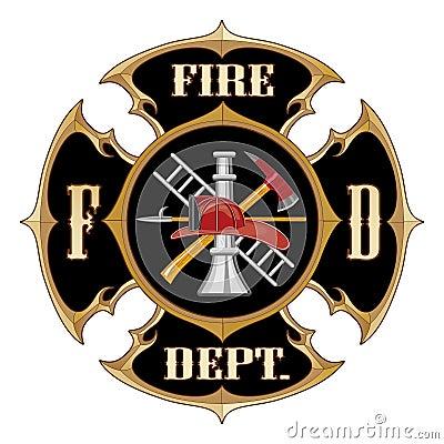 Fire Department Maltese Cross Vintage Royalty Free Stock