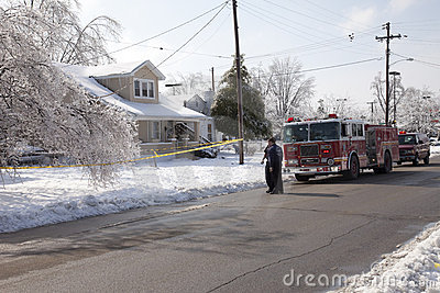 Fire department response to ice storm Editorial Stock Photo