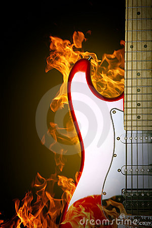 Fire electric guitar.
