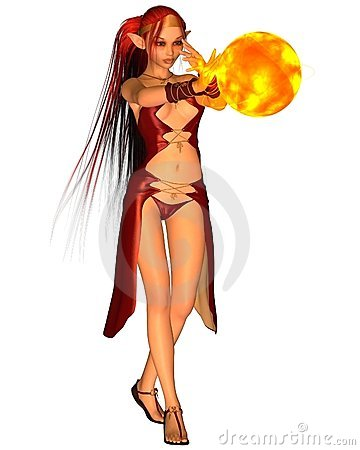 Fire Elf Creating a Fireball