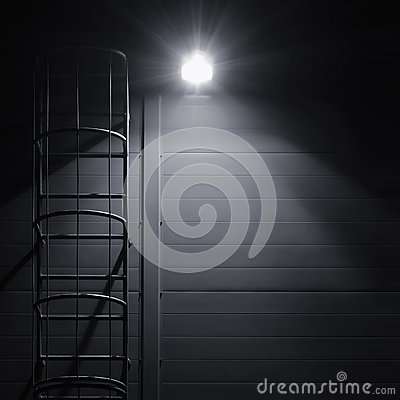 Free Fire Emergency Rescue Access Escape Ladder Stairway, Bright Lantern Royalty Free Stock Photo - 58992365