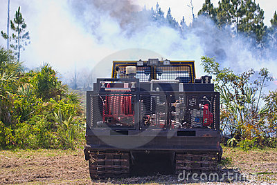 Fire engine at brush fire