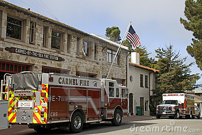 Fire engine, Carmel-by-the-sea Fire Station Editorial Stock Photo