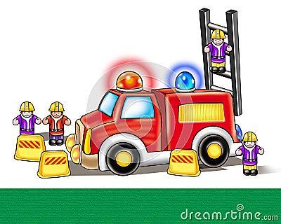 Fire engine toy. Digital Illustration