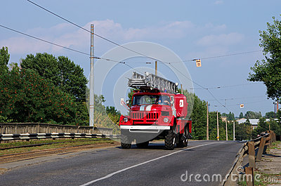 Fire-engine vehicle on the road