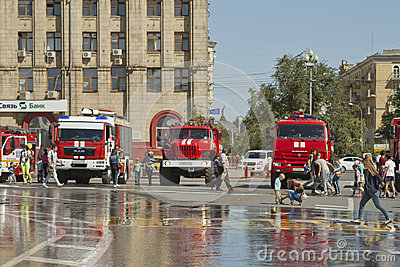 Fire engines at the exhibition stand under the open sky on the forecourt of Volgograd.