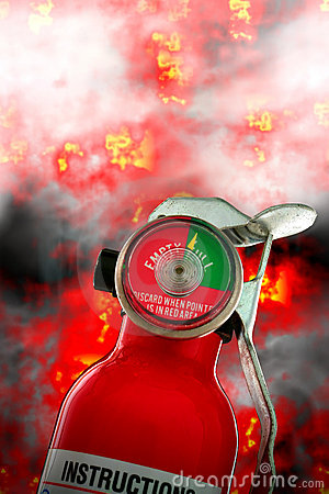 Fire Extinguisher with Burning Flames and Smoke