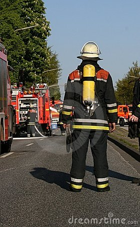 Fire fighter on his way to the site of operation