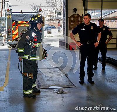 Fire fighters in uniform