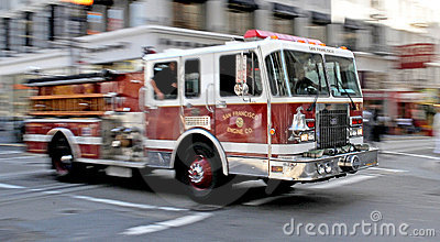 Fire - Firetruck on Rush in San Francisco Editorial Stock Photo