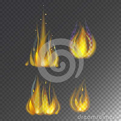Fire flame hot burn vector icon warm danger and cooking yellow bonfire light blazing campfire. Vector Illustration