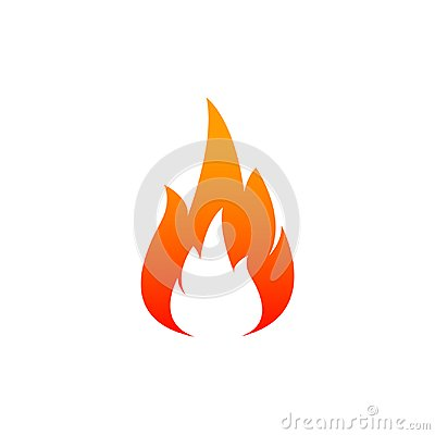 Fire flame icon. Oil, gas and energy concept and hot food. Flat design, vector illustration on background. Vector Illustration