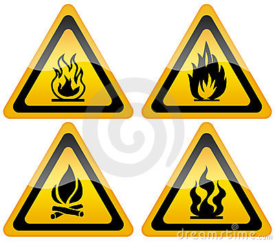 Fire flame warning sign