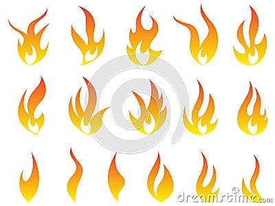 Fire flames logo symbol vector icon set design. Vector Illustration
