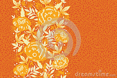 Fire flowers and leaves vertical seamless pattern