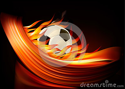Fire football background with a soccer ball
