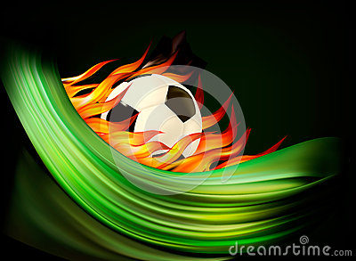 Fire football background with a soccer ball.