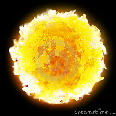 Fire globe planet Earth warming