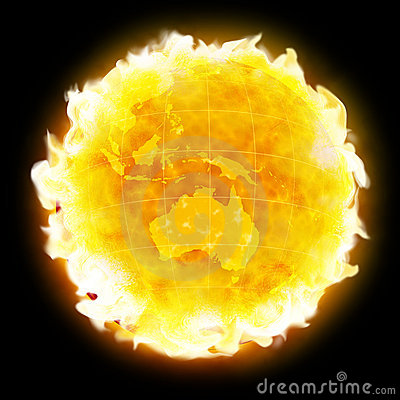 Fire globe planet Earth warming