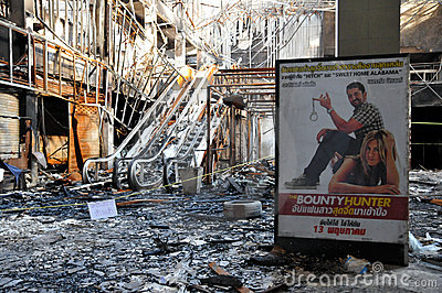 Fire Gutted Cinema in Bangkok - Red Shirt Protest Editorial Stock Photo