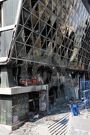 Fire Gutted Shopping Mall in Bangkok Editorial Photography