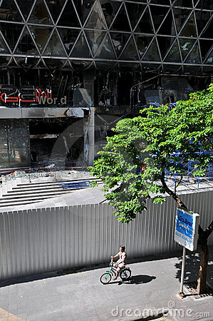 Fire Gutted Shopping Mall in Bangkok Editorial Photo