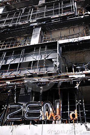 Fire Gutted Shopping Mall in Bangkok Editorial Stock Image