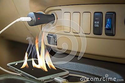 Fire hazard Forget charts phones Stock Photo