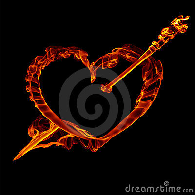 Fire  heart with arrow  for valentine day